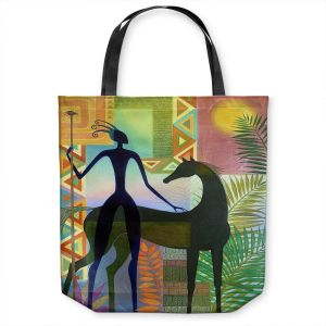 Unique Shoulder Bag Tote Bags | Jennifer Baird - Horse and Warrior | silhouette abstract animal human