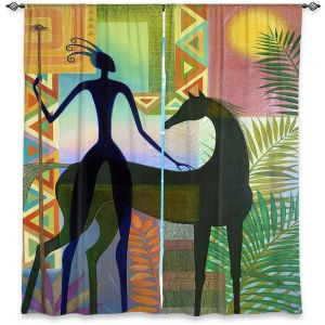 Decorative Window Treatments | Jennifer Baird - Horse and Warrior | silhouette abstract animal human