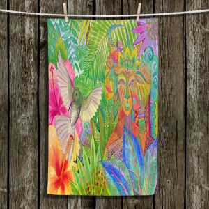 Unique Hanging Tea Towels | Jennifer Baird - Humming Bird and Forest Spirits | Nature Humming Birds Forst Spirits Trees Flowers