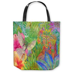Unique Shoulder Bag Tote Bags | Jennifer Baird - Humming Bird and Forest Spirits | Nature Humming Birds Forst Spirits Trees Flowers