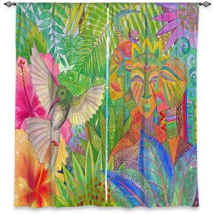 Decorative Window Treatments | Jennifer Baird - Humming Bird and Forest Spirits | Nature Humming Birds Forst Spirits Trees Flowers