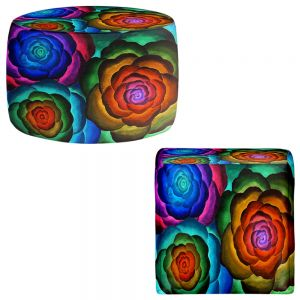 Round and Square Ottoman Foot Stools | Jennifer Baird - Joyous Flowers II