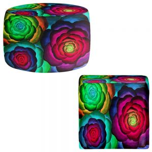 Round and Square Ottoman Foot Stools | Jennifer Baird - Joyous Flowers III