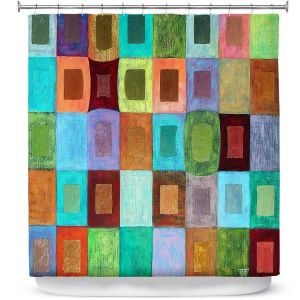 Premium Shower Curtains | Jennifer Baird - Light Colour | pattern simple rectangle square