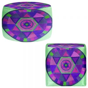 Round and Square Ottoman Foot Stools | Jennifer Baird - Mandala II C