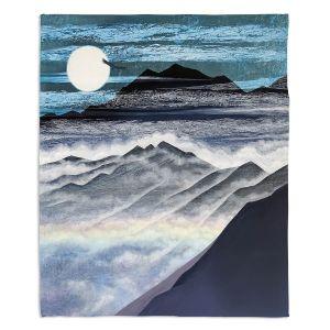 Decorative Fleece Throw Blankets | Jennifer Baird - Misty Mountains | Nature Landscape Mountains Moon