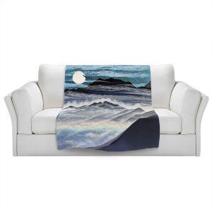 Artistic Sherpa Pile Blankets | Jennifer Baird - Misty Mountains | Nature Landscape Mountains Moon