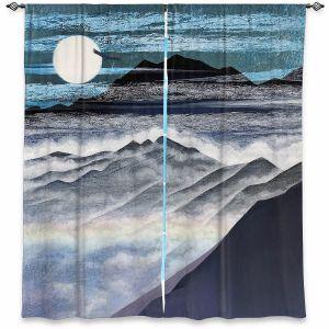 Decorative Window Treatments | Jennifer Baird - Misty Mountains | Nature Landscape Mountains Moon