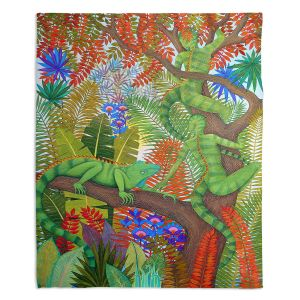 Decorative Fleece Throw Blankets | Jennifer Baird - Mystery Creatures 1 | hidden nature animals