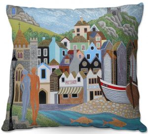 Throw Pillows Decorative Artistic | Jennifer Baird - Old Town and Rock A Nore | Old Town Shops River Boats People