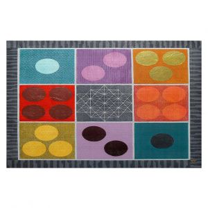 Decorative Floor Covering Mats | Jennifer Baird - Path of Saturn 1 | pattern simple geometric circle