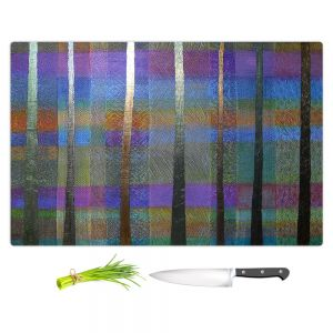 Artistic Kitchen Bar Cutting Boards | Jennifer Baird - Rainy Season 1 | forest trees abstract simple