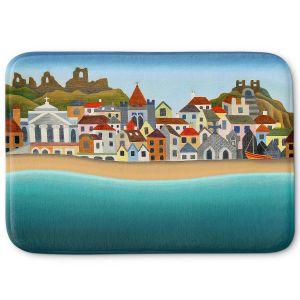 Decorative Bathroom Mats | Jennifer Baird - Seaside Town | coast beach ocean harbor