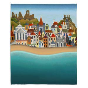 Artistic Sherpa Pile Blankets | Jennifer Baird - Seaside Town | coast beach ocean harbor