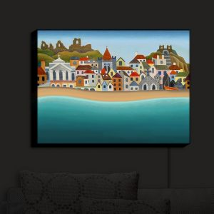 Nightlight Sconce Canvas Light | Jennifer Baird - Seaside Town | coast beach ocean harbor