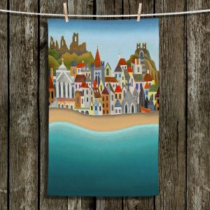 Unique Hanging Tea Towels | Jennifer Baird - Seaside Town | coast beach ocean harbor