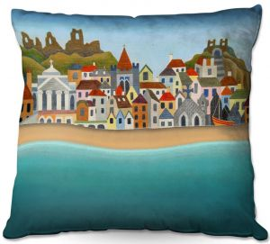 Throw Pillows Decorative Artistic | Jennifer Baird - Seaside Town | coast beach ocean harbor