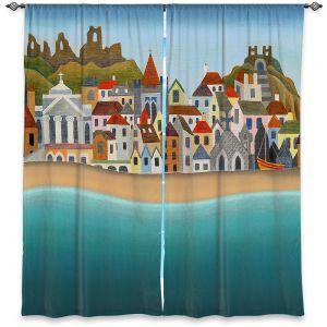 Decorative Window Treatments | Jennifer Baird - Seaside Town | coast beach ocean harbor