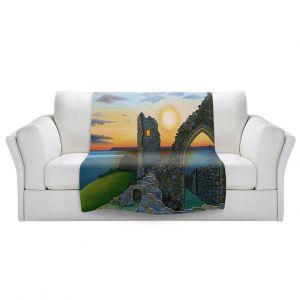 Artistic Sherpa Pile Blankets | Jennifer Baird - Sunset Hastings Castle 3 | landscape coast ruins