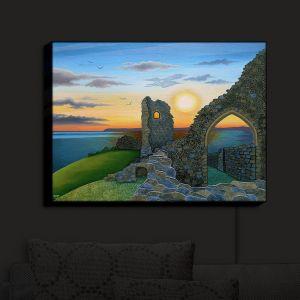 Nightlight Sconce Canvas Light | Jennifer Baird - Sunset Hastings Castle 3 | landscape coast ruins