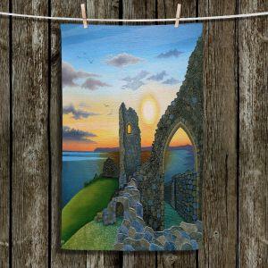 Unique Bathroom Towels | Jennifer Baird - Sunset Hastings Castle 3 | landscape coast ruins