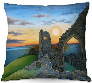 Decorative Outdoor Patio Pillow Cushion | Jennifer Baird - Sunset Hastings Castle 3 | landscape coast ruins