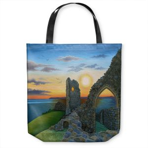 Unique Shoulder Bag Tote Bags | Jennifer Baird - Sunset Hastings Castle 3 | landscape coast ruins