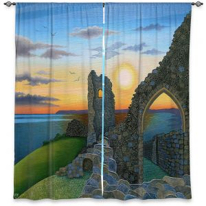 Decorative Window Treatments | Jennifer Baird - Sunset Hastings Castle 3 | landscape coast ruins