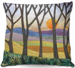 Unique Throw Pillows from DiaNoche Designs by Jennifer Baird - Sunset Over the Hills   18X18