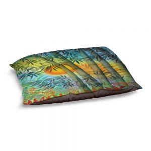 Decorative Dog Pet Beds | Jennifer Baird - The Bamboo Grove at Sunset | Nature Landscape Plants Trees Forest Sun