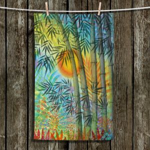 Unique Bathroom Towels | Jennifer Baird - The Bamboo Grove at Sunset | Nature Landscape Plants Trees Forest Sun