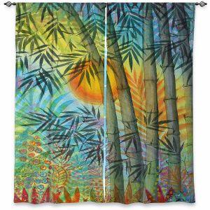 Decorative Window Treatments | Jennifer Baird - The Bamboo Grove at Sunset | Nature Landscape Plants Trees Forest Sun