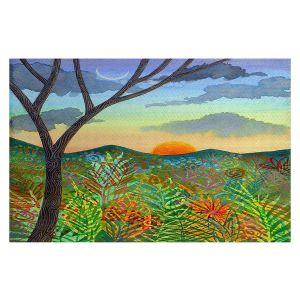 Decorative Floor Covering Mats | Jennifer Baird - Tobago Sunset | Nature Mountains Landscape Forest Sun
