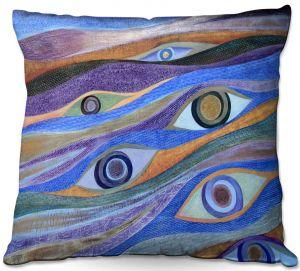 Throw Pillows Decorative Artistic   Jennifer Baird - Waking Up   eyes pattern wavy repetition