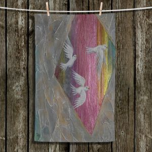 Unique Hanging Tea Towels | Jennifer Baird - White Birds 2 | nature creatures flight