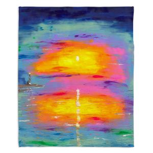 Artistic Sherpa Pile Blankets | Jessilyn Park - Sunrise at Lighthouse
