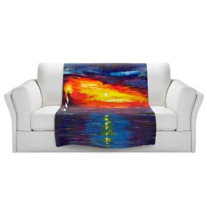 Artistic Sherpa Pile Blankets | Jessilyn Park - Sunset at Lighthouse