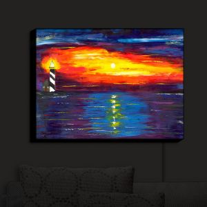 Nightlight Sconce Canvas Light | Jessilyn Park - Sunset at Lighthouse | Sunset Ocean Lighthouse