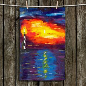Unique Hanging Tea Towels | Jessilyn Park - Sunset at Lighthouse | Sunset Ocean Lighthouse