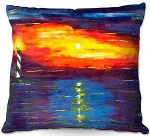 Throw Pillows Decorative Artistic | Jessilyn Park - Sunset at Lighthouse