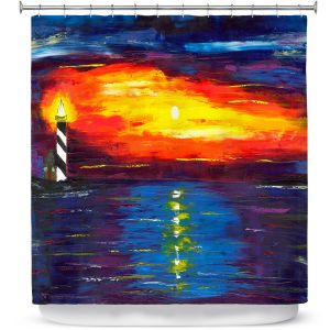 Premium Shower Curtains | Jessilyn Park - Sunset at Lighthouse