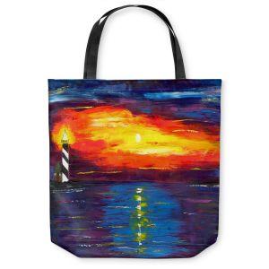 Unique Shoulder Bag Tote Bags | Jessilyn Park - Sunset at Lighthouse