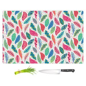 Artistic Kitchen Bar Cutting Boards | Jill O Connor - Colourful Feathers | Floral, Flowers, bird feathers