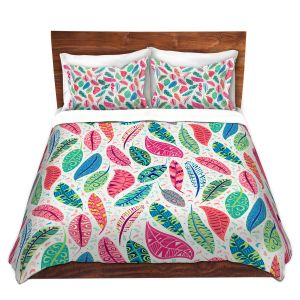 Artistic Duvet Covers and Shams Bedding | Jill O Connor - Colourful Feathers | Floral, Flowers, bird feathers