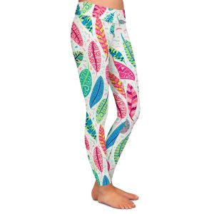 Casual Comfortable Leggings   Jill O Connor - Colourful Feathers   Floral, Flowers, bird feathers