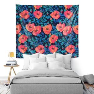 Artistic Wall Tapestry | Jill O Connor - Hand Painted Poppies | Floral, Flowers