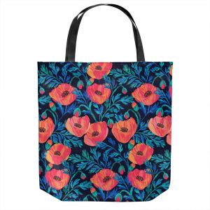 Unique Shoulder Bag Tote Bags | Jill O Connor - Hand Painted Poppies | Floral, Flowers