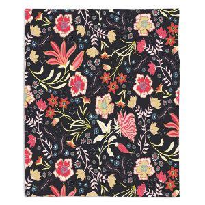 Decorative Fleece Throw Blankets | Jill O Connor - Indian Summer | Floral, Flowers