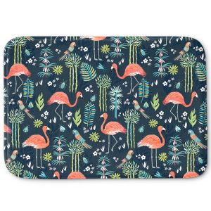 Decorative Bathroom Mats | Jill O Connor - Painted Flamingos | Floral, Flowers,animals, parrot, pattern