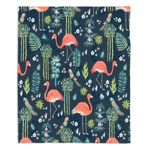 Decorative Fleece Throw Blankets | Jill O Connor - Painted Flamingos | Floral, Flowers,animals, parrot, pattern